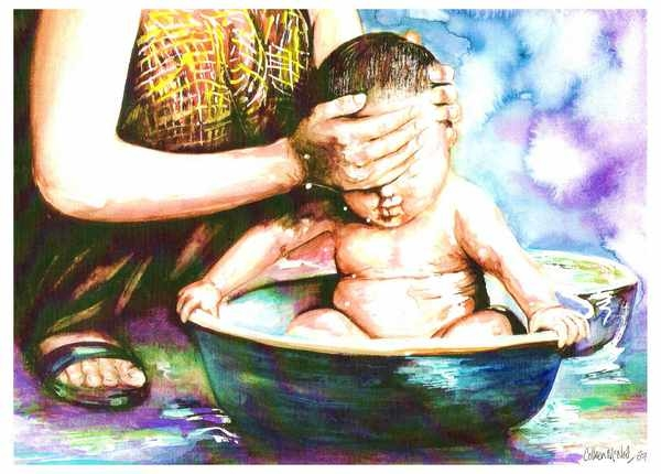 Bathing Baby by Colleen McNeil, artist